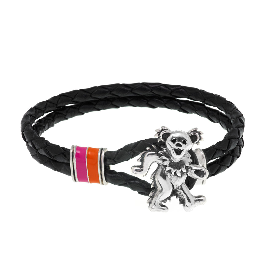 Dancing Bear Sterling Silver, Orange and Pink Enamel & Leather Bracelet