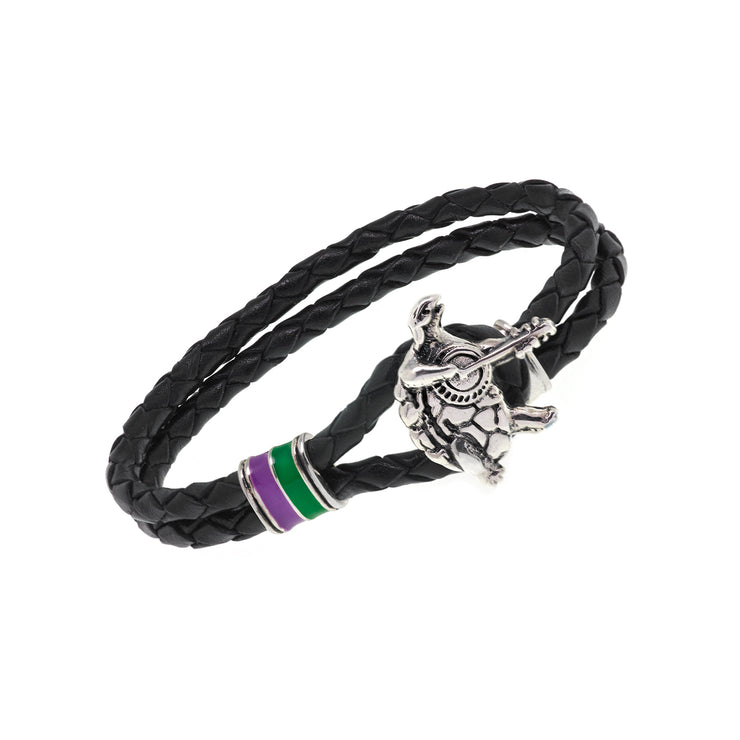 Terrapin Station Sterling Silver, Green and Purple Enamel & Leather Bracelet