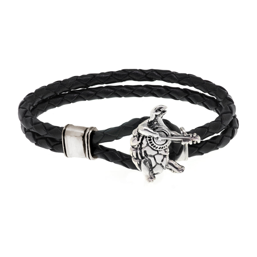 Terrapin Station Sterling Silver Leather Bracelet