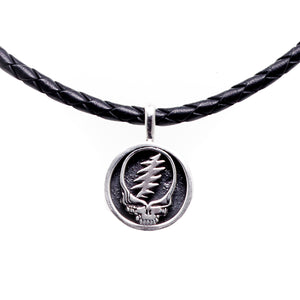 Steal Your Face Sterling Silver Charm Leather Necklace