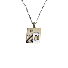 NYC Brooklyn Bridge Sterling Silver & Brass Necklace - Cynthia Gale New York - 1