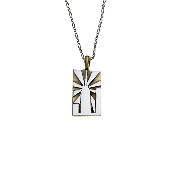 NYC Empire State Building Sterling Silver & Brass Necklace - Cynthia Gale New York - 1