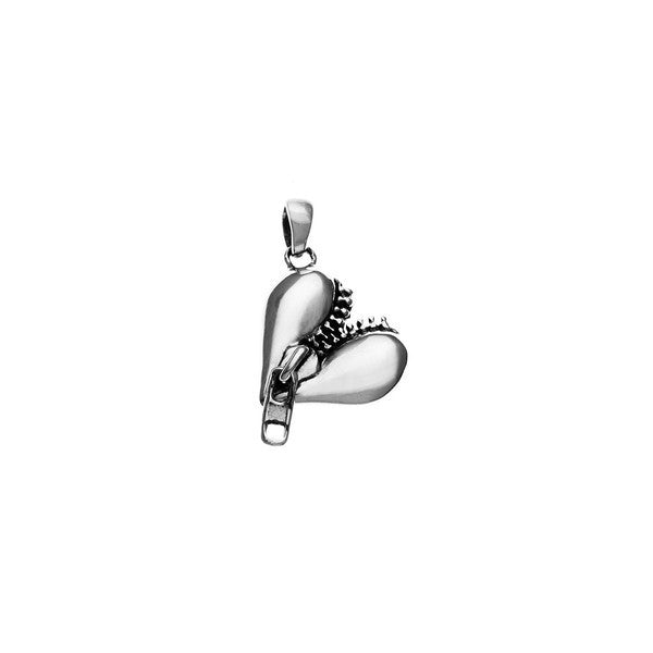 Rebel Punk Zipper Heart Sterling Silver Charm - Cynthia Gale New York Jewelry