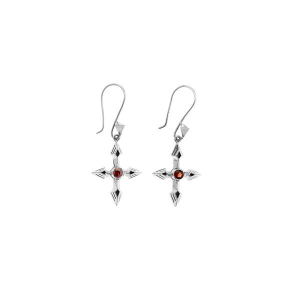 Rebel Punk Garnet Cross Sterling Silver Earring - Cynthia Gale New York Jewelry