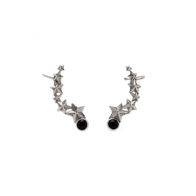 Rock Star Sterling Silver Ear Crawler With Onyx Earring - Cynthia Gale New York - 1
