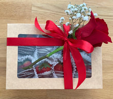 Load image into Gallery viewer, chocolate dipped strawberries, drizzled strawberries, chocolate strawberries, rose, gift, valentines day gift