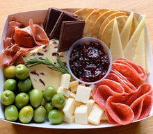 Load image into Gallery viewer, cranberry cheese, wensleydale cranberry cheese, salami, green olives, cheese box, graze box