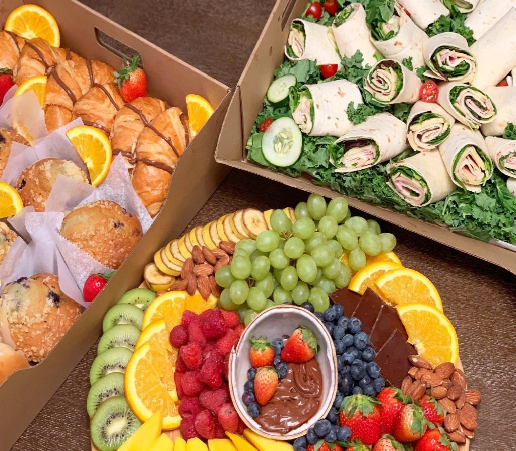 corporate catering, corporate platters, lunch boxes