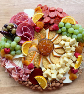 chorizo, cheese, cheese platters, salami, grapes, edible gift, party platters