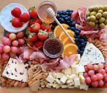 Load image into Gallery viewer, blue cheese, figs, fig spread, honey, cheese platter, cheese, slate plate