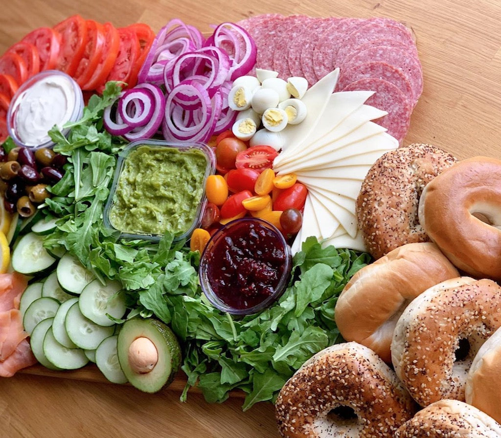 bagels, bagel salad, salmon bagel, fresh salad, platters, breakfast platter, brunch platter