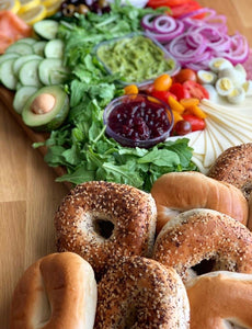 overwood, breakfast bagel, bagel platter, salad platter, cheese platters, brunch platter