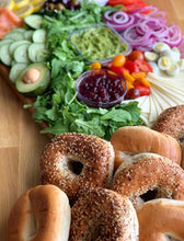 Load image into Gallery viewer, overwood, breakfast bagel, bagel platter, salad platter, cheese platters, brunch platter