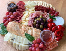 Load image into Gallery viewer, charcuterie board, charcuterie, prosciutto, serrano ham, cheese platter, cheese plate