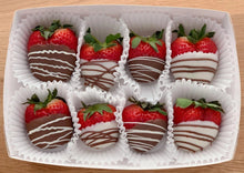 Load image into Gallery viewer, chocolate dipped strawberries, hand dipped, chocolate box, valentine's day gift, romantic gift