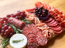 Load image into Gallery viewer, Charcuterie board, meat platter, gift platter, saucisson sec, serrano ham, overwood, cheese platter