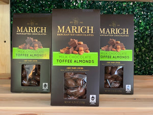 marich toffee almonds, toffee almonds, milk chocolate almonds