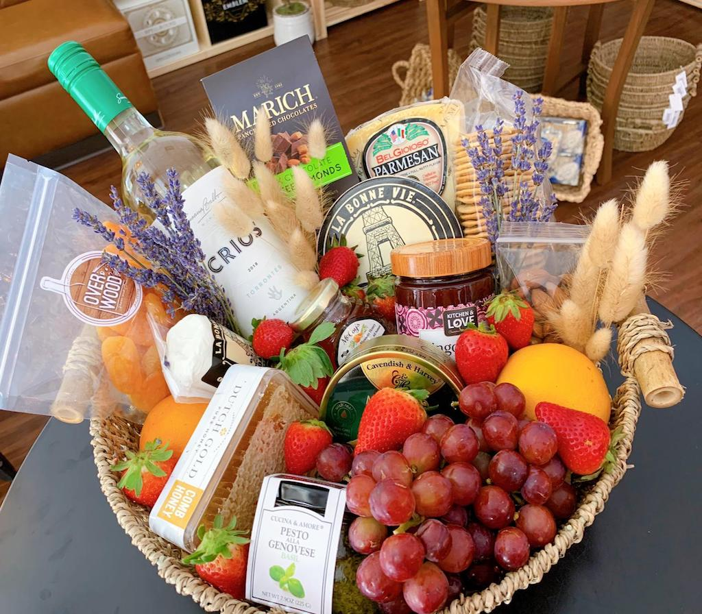 fresh product gift basket, cheese basket, edible gifts, gift baskets