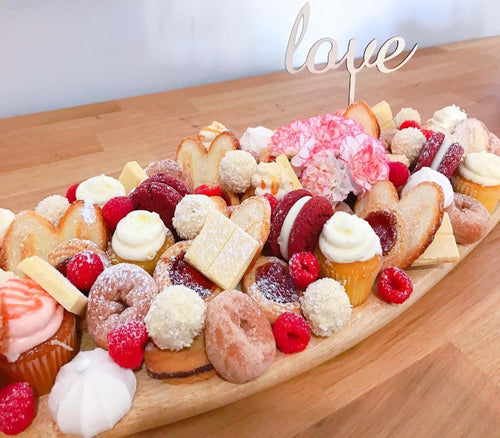 dessert platter, sweet treats, flowers, cupcakes, birthday platter, love platter