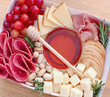 Load image into Gallery viewer, graze box, cheese box, gift box, charcuterie box, antipasto box, honey box