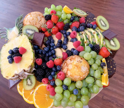 fruit arrangement, fruit platter, fruit board, fresh fruit, healthy platter, pineapple, berries, cookies, grapes