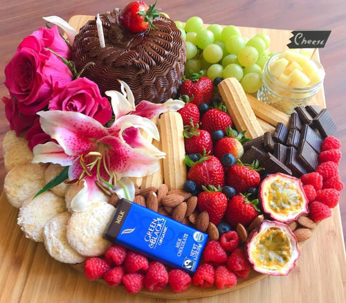 birthday gift board with cake for parties and events