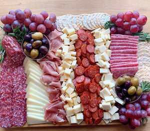 cheese platter, cheese, charcuterie board, meat platter, olives, salami, saucisson sec, manchego, party platters