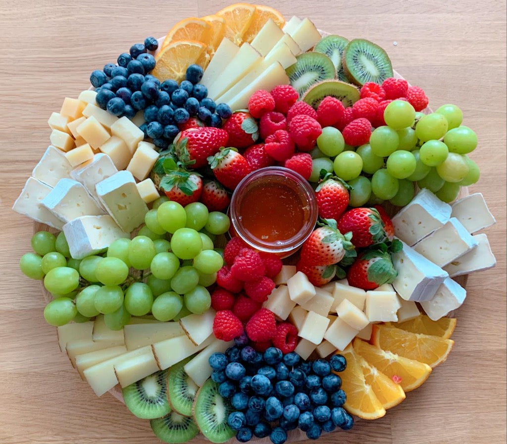 brie cheese, cheese platter, cheese board, fresh fruits, party platter, medium platter