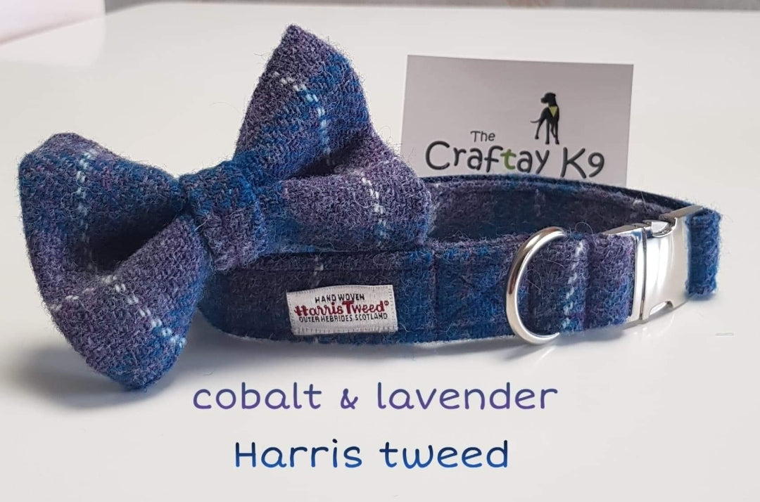 Lavender and Cobalt Blue Harris Tweed Collar and Bow Tie
