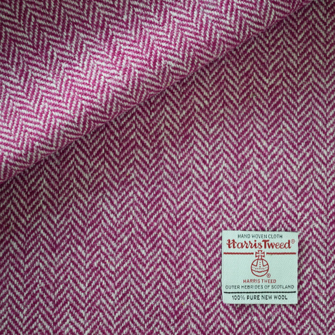 White and Pink Herringbone Harris Tweed