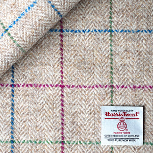 Cream and Oatmeal Over Checked Herringbone Harris Tweed
