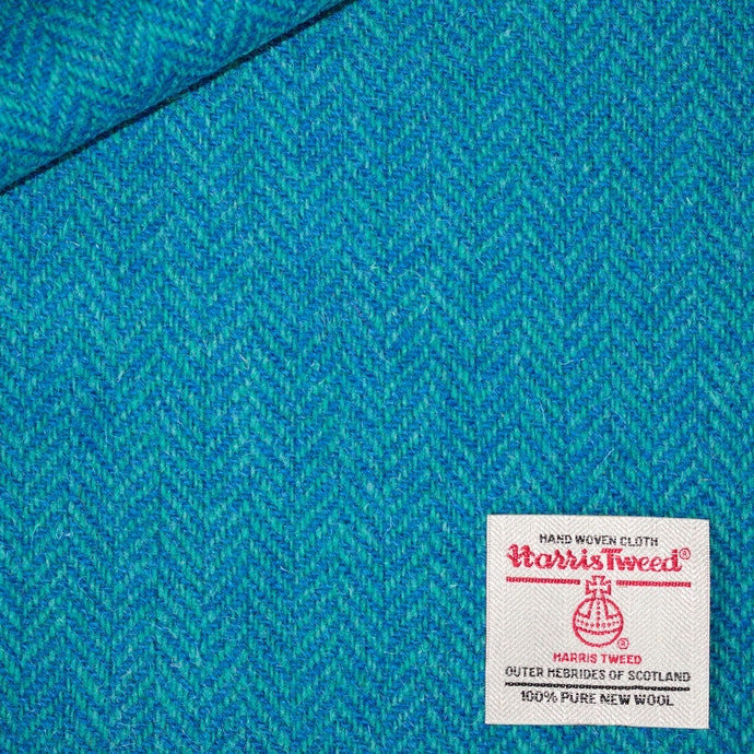 Jade and Cobalt Herringbone Harris Tweed