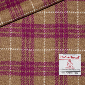 Latte and Magenta Check Harris Tweed