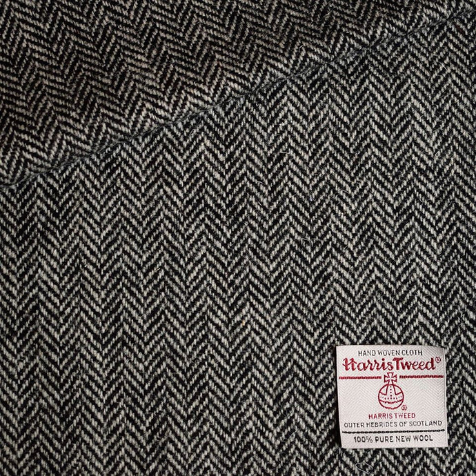 White and Black Herringbone Harris Tweed