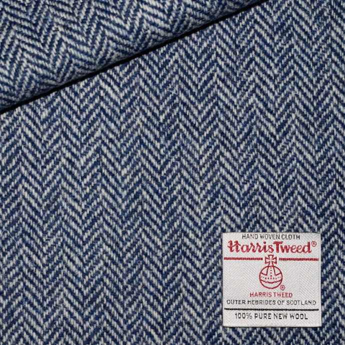 White and Dark Blue Herringbone Harris Tweed