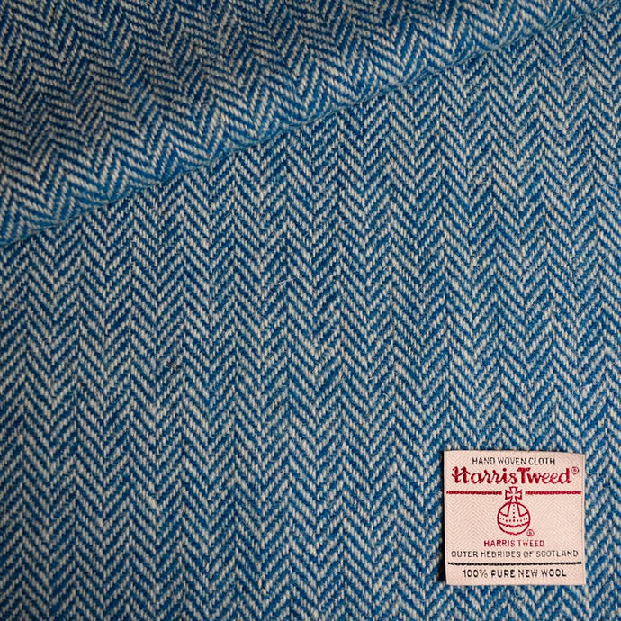 White and Cobalt Blue Herringbone Harris Tweed