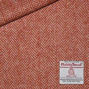 White and Orange Herringbone Harris Tweed