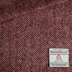White and Dark Red Herringbone Harris Tweed