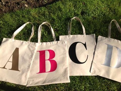 Reusable ABC Personalized Initial Canvas Tote Bag