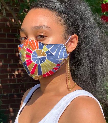 Handmade Reversible Washable Cotton Face Mask With Pocket & Chain Lanyard
