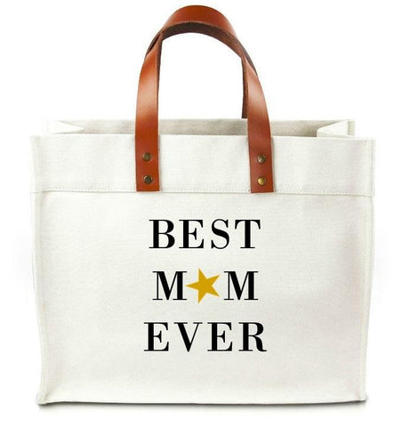 Best Mom Ever Canvas Tote Bag With Leather Straps - bambinadicioccolato