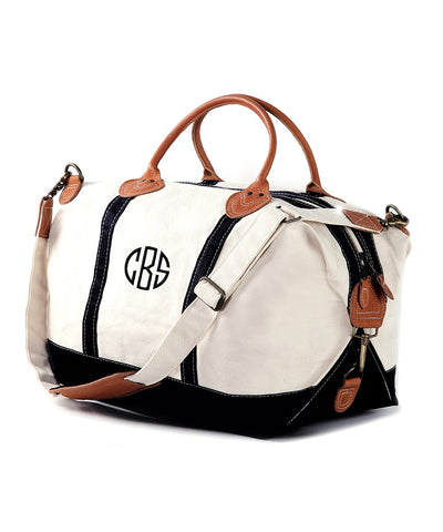 Haley Personalized Canvas & Leather Trim Weekender