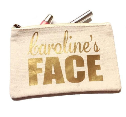 Face It Personalized Name Canvas Makeup Bag In Beige