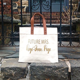 Future Mrs Personalized Canvas Tote Bag With Leather Straps | Personalized Bride's Tote Bag