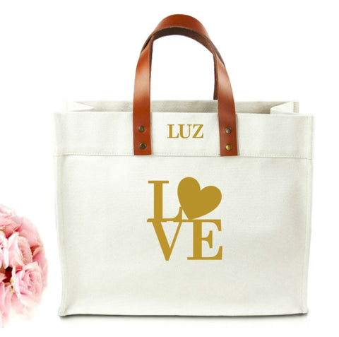 Love Monogram Canvas Tote Bag With Leather Straps - bambinadicioccolato