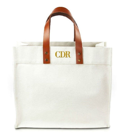 Fulham Monogram Canvas Tote Bag With Leather Straps