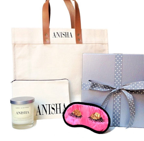 Cara Personalized Tote Pouch Candle Sleep Mask Gift Box - bambinadicioccolato