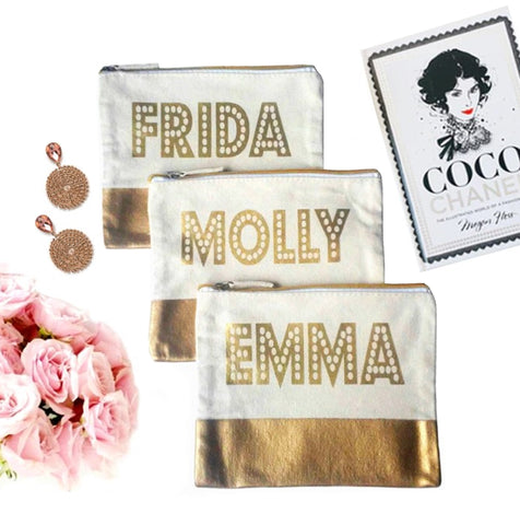 Gold Dipped Personalized Canvas Pouch - bambinadicioccolato