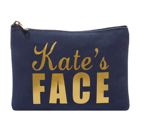 Face It Personalized Name Canvas Makeup Bag In Navy - bambinadicioccolato
