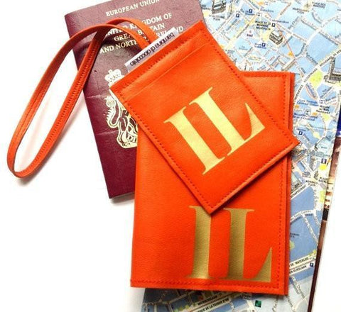 Mia Personalized Leather Passport Cover & Luggage Tag Set